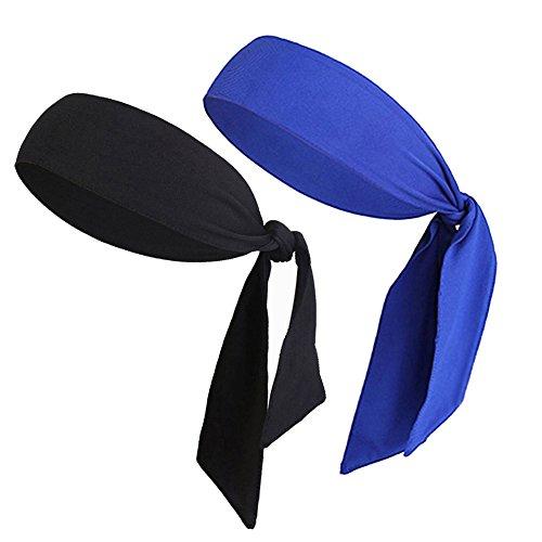 (V-SPORTS Dri-Fit Head Ties Tennis Headbands Sweatbands for Women Men Boys Girls Kids Performance Elastic & Moisture Wicking, Black/Blue 2PCS)