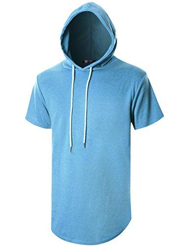 GIVON Mens Hipster Simple Longline Lightweight Pullover Short Sleeve Hooded (Fashion Chimney Hood)