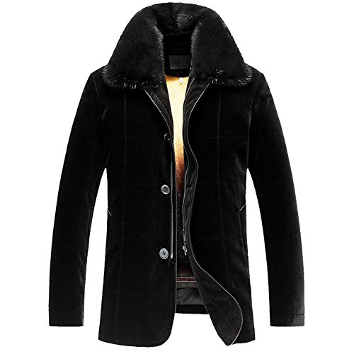 LINAILIN Men's Golden Mink Fur Lined Silk Velvet Shell Coat Luxury Genuine Fur Coat for Men Removable Fur Lined Parka (XXL, Black) - Golden Mink Fur Coat