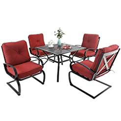 Garden and Outdoor MFSTUDIO Patio Dining Set for 4 Outdoor Furniture Square Bistro Table with 1.57″ Umbrella Hole 4 Spring Motion Chairs with Cushion Burgundy for Backyard Garden Lawn patio dining sets