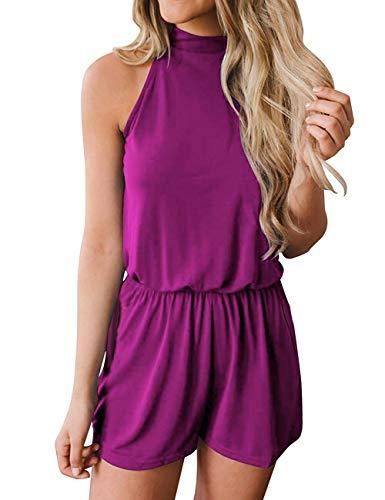 Violet Jumpsuit - avakess Women's Summer Casual Loose Halter Neck Shorts Elastic Waist Solid Color with Pocket Jumpsuits Rompers Violet