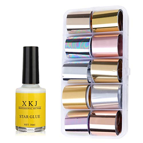 AIFAIFA Metallic Nail Foils Transfer with Nail Glue, 10 Color Metallic Transfer Nail Foils Sticker, Gold, Silver, Rose - Nail Art Foil