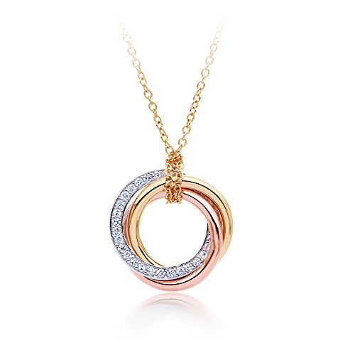 MYJS Trinity 3 Gold Plated Interlocking Pendant Necklace with Cubic Zirconia , 17+2