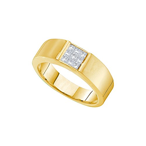 14k Yellow Gold Princess Natural Diamond Mens Wedding Anniversary Band Ring (.50 cttw.) (I1-I2) by Mia's Collection