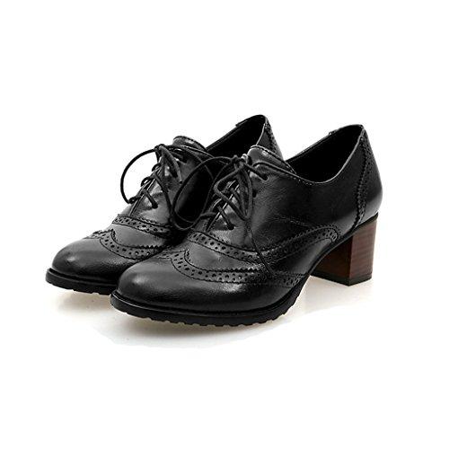 PU Cordones Cuero Tal Mujer Vintage de Brogue Bdawin Zapatos Z1wxaYt1q