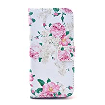 SuperMore YX Excellent Pattern Holster for IPhone5S IPhone 5S 5 5G IPhone5 with PU and TPU inside Cover Magic Button Holder Stander Card hole Protective Phone Case - White Large flowers