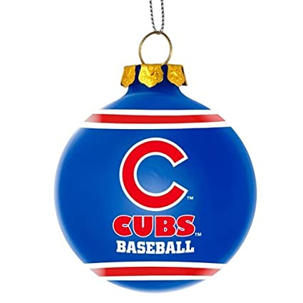 Cubs Christmas Ornaments.Amazon Com Chicago Cubs Official Mlb 3 Glass Ball
