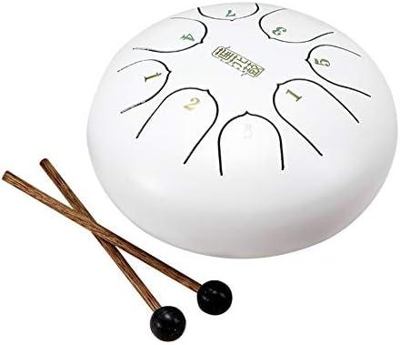 Yanten Tongue Drum 6 Zoll, Mini-8-Tone Stahlzunge Trommel mit Schlägel, Pan Drum für Kinder (weiß)