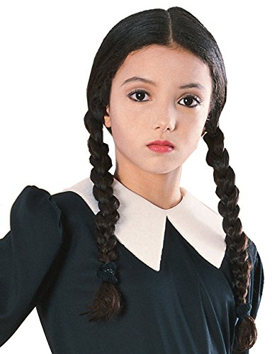 Addams Family Big Boys' Costume Wig Wednesday Wig One Size Black (Wednesday Addams Outfit)