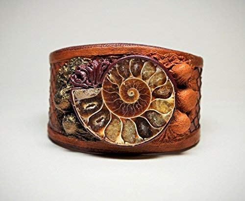 (Adjustable bronze and brown real snake skin bracelet cuff with ammonites fossil pieces. Handmade leather bracelet)