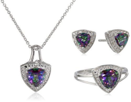 Sterling Silver Trillion Mystic Topaz and Diamond Ring, Pendant Necklace, Earrings Box Set, Size 7 - Topaz Trillion Ring