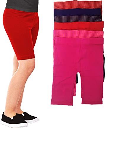- Girls -Little Girls & Youth 6 Pack Cotton Stretch Snug Fitting Under Dress Slip Shorts/Bike Short Leggings (6-7, 6 Pack- Solids/Stripes)