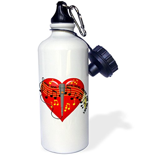 3dRose wb_11618_1 Large red heart, musical notes, microphone, Sing From the Heart text, light background - Sports Water Bottle, 21 oz, ()