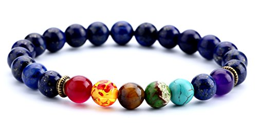 Doitory Men Women 8mm Lava Rock Chakra Beads Bracelet Elastic Natural Stone Yoga Bracelet Bangle(Lapis Lazuli)