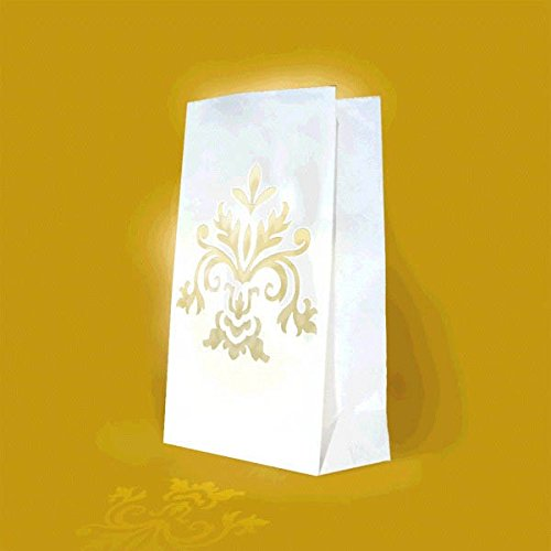 elegant white damask bridal luminaries