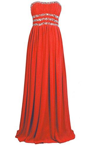 Vantexi Damen Perlen Lange Abschlussball Abendkleid Brautjungfer Kleider Rot FbYoe1
