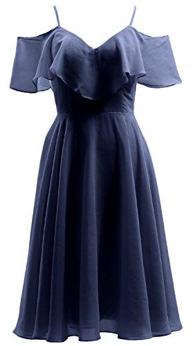Wedding Dunkelmarine Ruffled Formal Gown Party Chiffon MACloth Bidesmaid Dress V Short Neck gqP6ax0wd