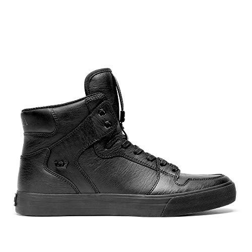Supra Footwear - Vaider High Top Skate Shoes, Black/Black-Red, 13.5 M US Women/12 M US Men