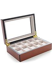 Mantello Cherry Wood 10-Watch Box Showcase Jewelry Case Organizer