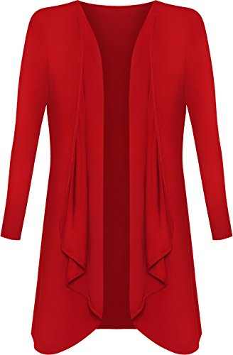 WearAll - Grandes tailles Longue Waterfall Cardigan Haut - Hauts - Femmes - Grande Tailles - 44-54 Rouge
