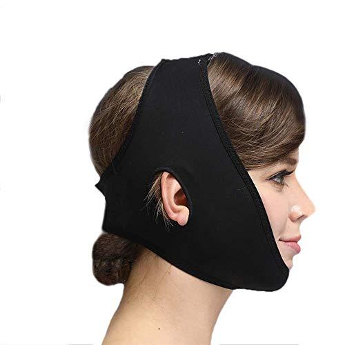 治すベスト階層フェイススリミングマスク、快適さと通気性、フェイシャルリフティング、輪郭の改善された硬さ、ファーミングとリフティングフェイス(カラー:ブラック、サイズ:XL),ブラック2、L