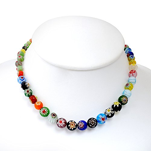 Venetian Murano Glass Multi-Colored Millefiori Flower Ball Round Beads Necklace, 17-19 inches Italian Glass Bead