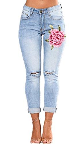 Slim Fit Leggings Pantaloni Skinny Lunghi Denim Donna Bleu Strappato Donne Ricamo Strappati Elastico Jeans In Matita x4q8aHwF0