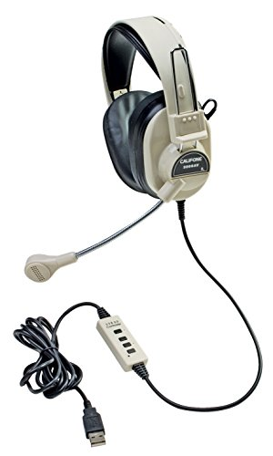 Deluxe Multimedia Stereo Headset (Califone 3066-USB Deluxe Multimedia Stereo Headset with USB Plug, Flexible Omni Directional Microphone, Around Ear Ambient Noise Reducing Earcups, In-line Volume Control)