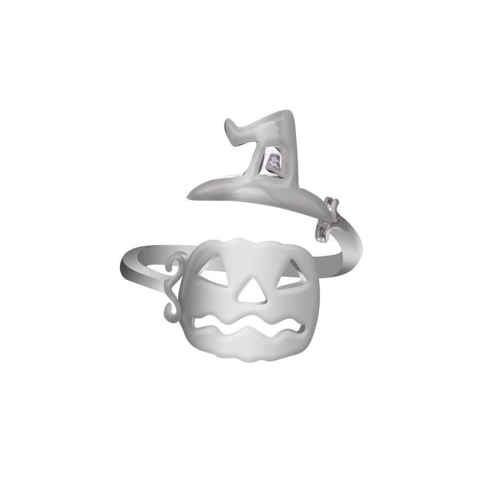 Toaimy Ear Pendants Cute Halloween Ghost Witch Broom Open Finger Rings Party Cosplay Jewelry