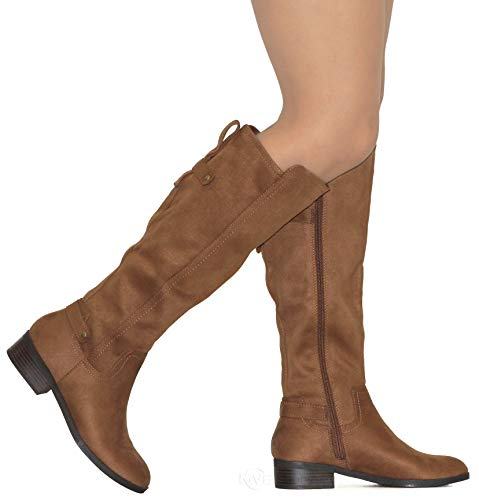 MVE Shoes Women's Knee-high Faux Leather - Comfortable Fashion Boots, Balloon CNUT ISU 8.5