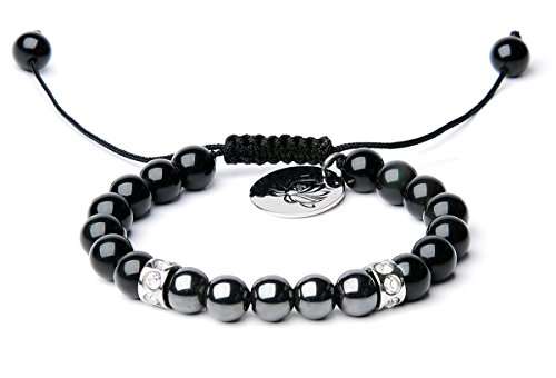 Black Obsidian Bracelet - Bella.Vida Mens Womens Bracelet 8mm Natural Rainbow Black Obsidian and Hematite Bead Therapy Adjustable Braided Bracelet with Lotus Charm