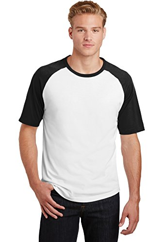 Sport-Tek Mens Short Sleeve Colorblock Raglan Jersey (T201) -WHITE/BLAC -4XL ()