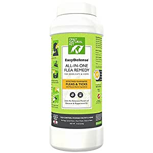 Only Natural Pet EasyDefense All-in-One Flea Remedy - Natural Flea Treatment Control Powder For Dogs, Cats And Effectively Eliminating Fleas Around The Home 8 oz Powder