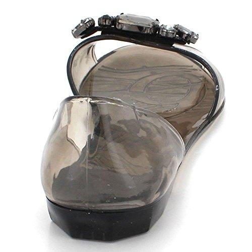 Suave Señoras Tamaño Mujer Verano Negro Zapatilla Diamante Noche Jalea Casual Zapatos Plano Sandalias S1BnpZ10