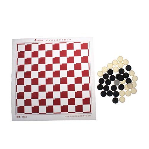 Perfk 正方形 プラスチック 黒白チェスマン チェッカーゲーム 国際ドラフトチェッカー