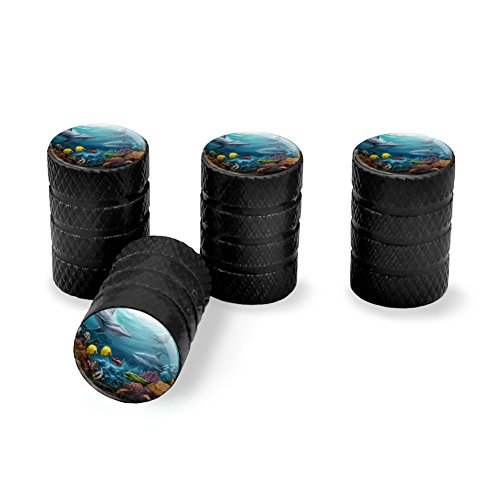 Graphics and More Coral Reef Ocean Scene Dolphin Turtle Shark Stingray Fish Tire Rim Wheel Aluminum Valve Stem Caps - Black ()