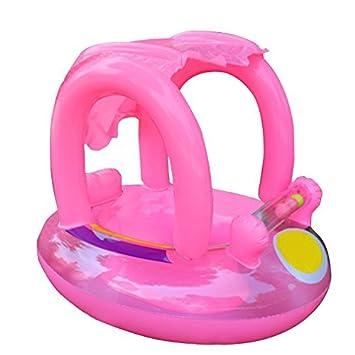Flotador de natación para bebé con toldo inflable para piscina, flotador de barco, juguete flotante para bebés de 12 a 36 meses rosa rosa: Amazon.es: Bebé