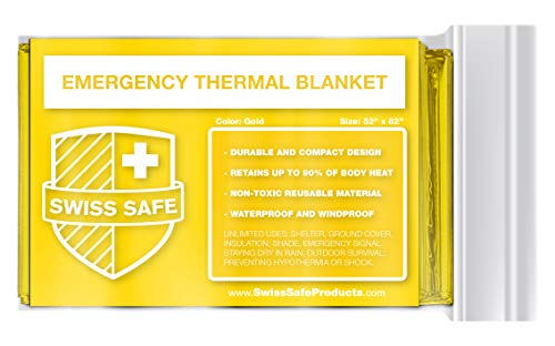 Swiss Safe Gold Emergency Mylar Thermal Survival Blanket: Camping, Outdoors, or Marathons
