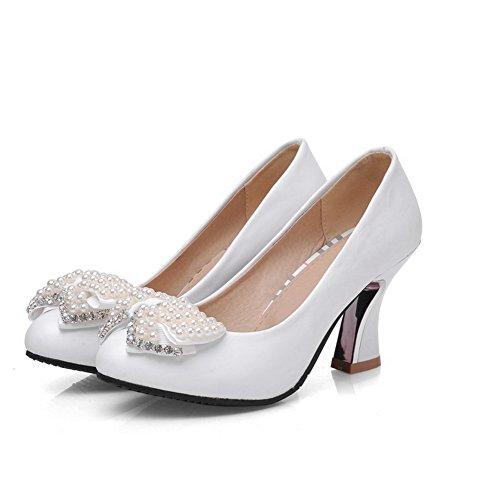 VogueZone009 Damen Hoher Absatz Eingelegt Ziehen auf Weiches Material Rund Zehe Pumps Schuhe, Blau, 36