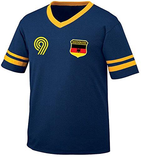 Deutschland Germany Soccer Style Crest and Number Men's Retro Soccer Ringer T-shirt, Amdesco, Navy/Gold (Design Mens Ringer T-shirt)