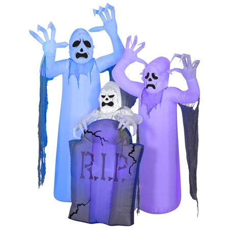 Airblown Inflatable Halloween Shortcircuit Ghosts Trio with Tombstone Scene by Gemmy Industries -