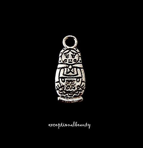 10 Antiqued Tibetan Silver Bead Drop Two Sided Matryoshka Russian Doll -