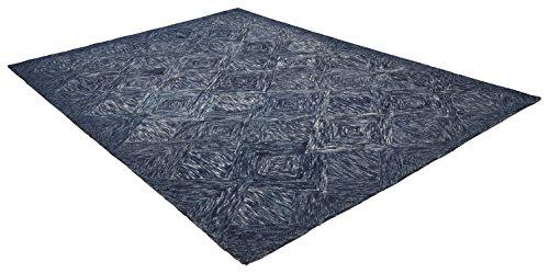 Rivet Motion Patterned Wool Area Rug, 8' x 10'6, Denim Blue by Rivet (Image #3)