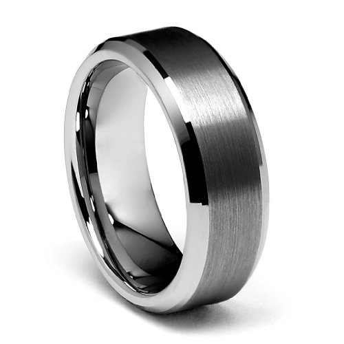 LASER ENGRAVING SERVICE 8mm Beveled Edge Men's Tungsten Wedding Band - Size 11.5