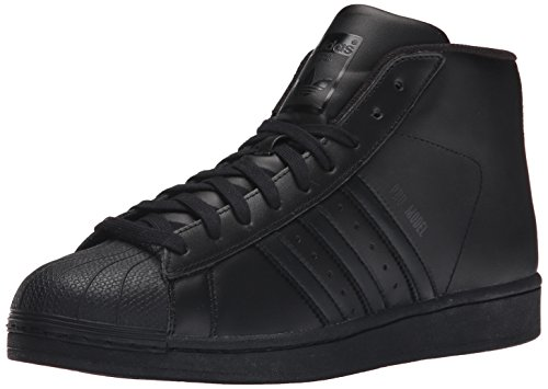 adidas Originals Men's Pro Model Fashion Sneaker, Black/Black/Black, 10.5 M US (Sneaker Leather Pro)
