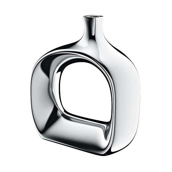 Halter HAL-268 Fine Ceramic Vase with a Metallic Chrome Like Finish– Ideal for Home décor or for Party centerpieces, Sturdy, and Stylish Idea! (Small) - HIGH QUALITY, STURDY AND STYLISH Halter's modern and stylish vase is extremely durable & crafted of fine ceramic, with a metallic chrome-like finish. Its unique design will add a twist of charm to each room in your home and will add warmth and depth to any table scape. It measures 24.2 CM wide x 26.1 high. To clean, just wipe with a damp cloth. ADD INSTANT STYLE TO YOUR HOME DÉCOR: Halter's beautiful and modern chrome vase will give your living space an extra dash of sophistication. It will make an extravagant centerpiece which will elegantly display your decorative flowers or stand beautifully alone. The clean metallic chrome-like finish allows this vase to make a bold statement that will give your living space a contemporary flair. DIVERSE DÉCOR OPTIONS: Keep them on a single shelf, console table, mantel or any table top. They are the ideal home decoration for living room, or home kitchen décor. Fill them with Fancy feathers, silk flowers, fresh flowers or any flowers of your choice. Hemingweigh's charming vase will give a quick makeover to your ambiance and is fabulous add-on for any modern style home interior even when standing on its own. - vases, kitchen-dining-room-decor, kitchen-dining-room - 41NID9e 8 L. SS570  -