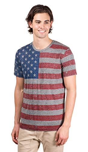 Brooklyn Surf Men's American Flag T-Shirt Marl Jersey Stars N Stripes Tee Shirt, Black Marl, X-Large
