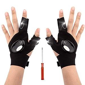 LUTER 1 Paar LED Taschenlampen Handschuhe Angel Handschuhe und Schraubendreher Gadget Tool zur Reparatur von Arbeiten im…