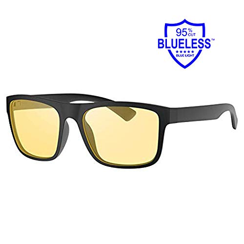 Blue Light Blocking Glasses - Avoalre Computer Gaming Glasses Anti Eyestrain UV Blue Blocker Glasses for Men Women - Amber Tinted Lens Lightweight Black Large Frame (0.00)