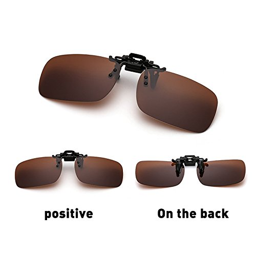 EDTara Polarized Glasses with Sun Glasses Case - UV 400 Clip-on Flip-up Lens Day Night Vision Driving Sunglasses Dark Brown - Glasses Dark Clip On